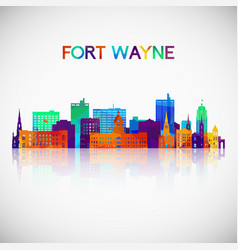 fort wayne skyline silhouette in colorful vector image
