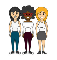 Friends women happy together icon vector