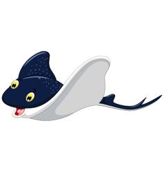 Funny cartoon stingray cartoon swimming vector