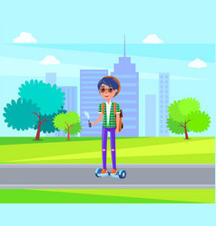 girl riding on personal transporter in park vector image