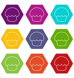 glaze cupcake icons set 9 vector image