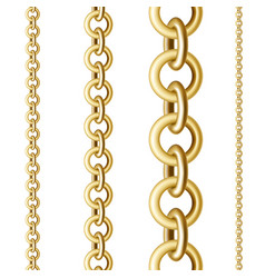 Gold chains in different sizes vector