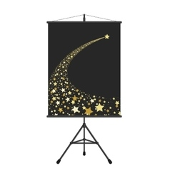 Gold falling star on presentation screen vector image