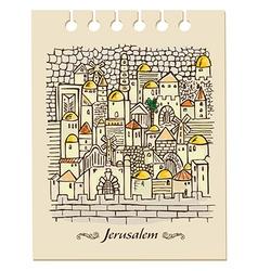 hand drawing Jerusalem vector image