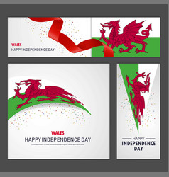 Happy wales independence day banner and vector