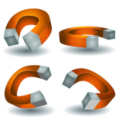 Horseshoe magnet set vector