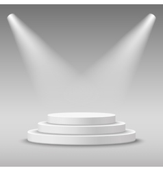 Illuminated round white stage podium vector image