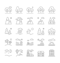 Landscape icons thin line style flat design vector