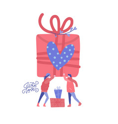 man and woman in love holding big box gift vector image