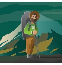 Man with big beard and backpack in the mountains vector image