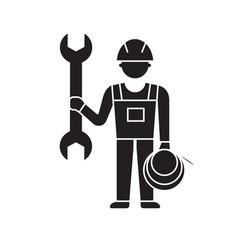 mechanic service black concept icon vector image