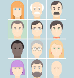 men and women flat avatars set with faces people vector image