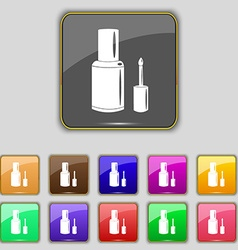 Nail polish bottle icon sign set with eleven vector