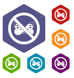 no butterfly sign icons set vector image