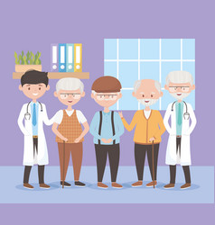 Physicians and group grandfathers characters vector