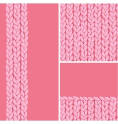 Pink set three knit textile seamless patterns vector