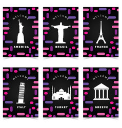 Poster for travel on colorful background set one vector