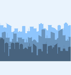 random blue city skyline on light background vector image