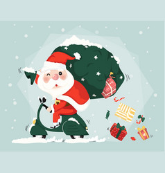 santa clause ride scooter delivery present boxes vector image