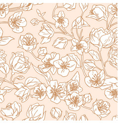 Seamless pattern blossomed buds white vector