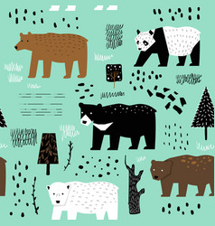 Seamless pattern cute bears childish background vector