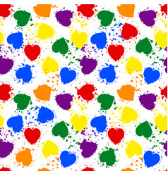 Seamless pattern lgbt pride color heart vector