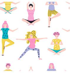 Seamless pattern made yoga class vector