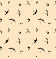 Seamless pattern with black flying swallow birds vector