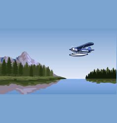 seaplane flying over beautiful lake vector image