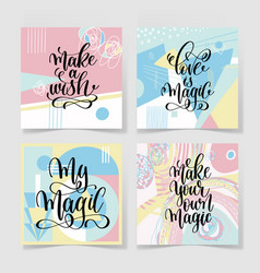 set of four hand lettering positive quote vector image