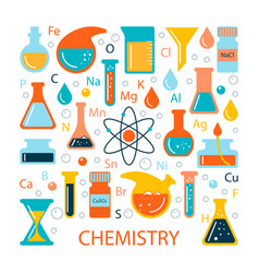 Set of icons on a science theme vector
