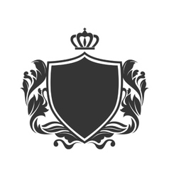 shield ornament crown vector image