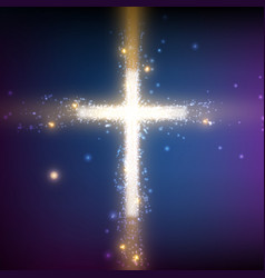 Shining cross on colorful background vector