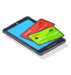 Smartphone with credit cards online payment vector
