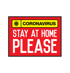 Stay at home please lettering typography poster vector