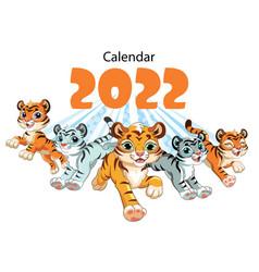 Tiger desk calendar design cover template 2022 vector