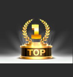 top 1 best podium award sign golden object vector image