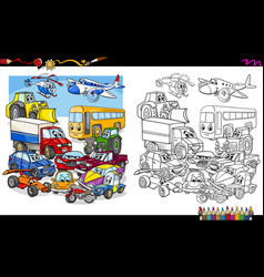 Transport vehicles group coloring page vector