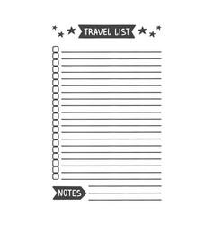 Travel list printable organizer for study vector