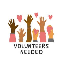 Volunteers hands up concept simple design vector