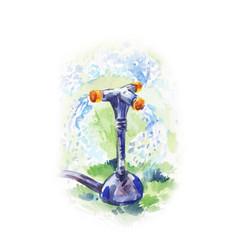 Watercolor of watering process with garden sprayer vector
