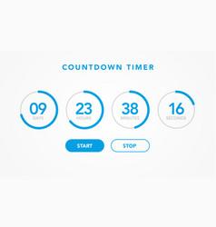 website element flat digital clock countdown timer vector image