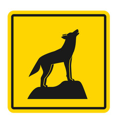 wild animals yellow road sign silhouette of vector image