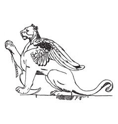 Winged lioness is used as a supporter vintage vector