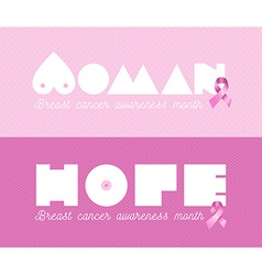 Woman breast cancer awareness pink banner set vector