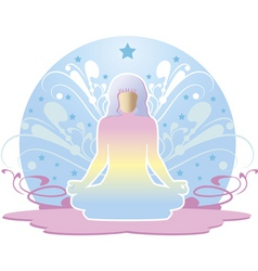 Woman meditating vector