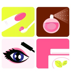 cosmetic and makeup icons vector image vector image