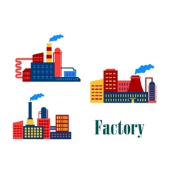 Flat factory and plants icons vector image vector image