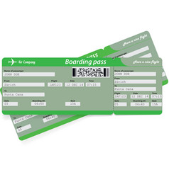 Green pattern of two airline boarding pass tickets vector