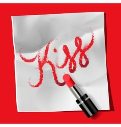 Lipstick and inscription Kiss vector image vector image